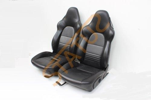 Porsche 911 996 Boxster 986 Black Leather Hard Back Sports Seats Heated
