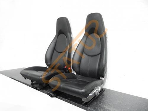 Porsche 911 997 Boxster Cayman 987 Black Front Leather Seats Pair